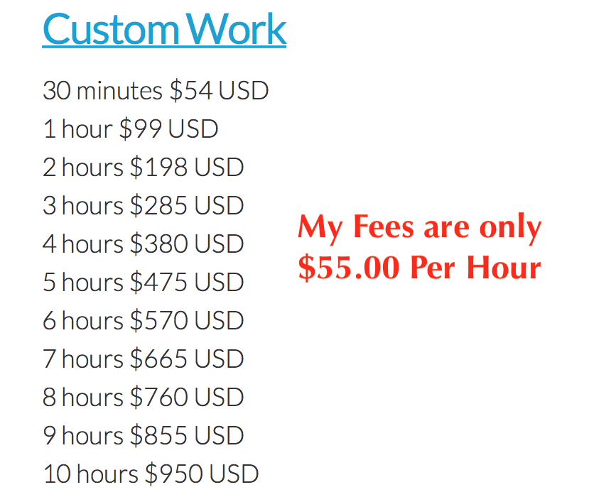 Custom Work Fee Comparison